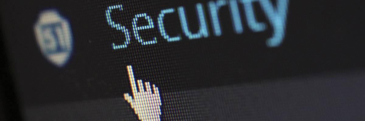 """Mauspfeil auf einem Button mit der Aufschrift """"Security"""""""
